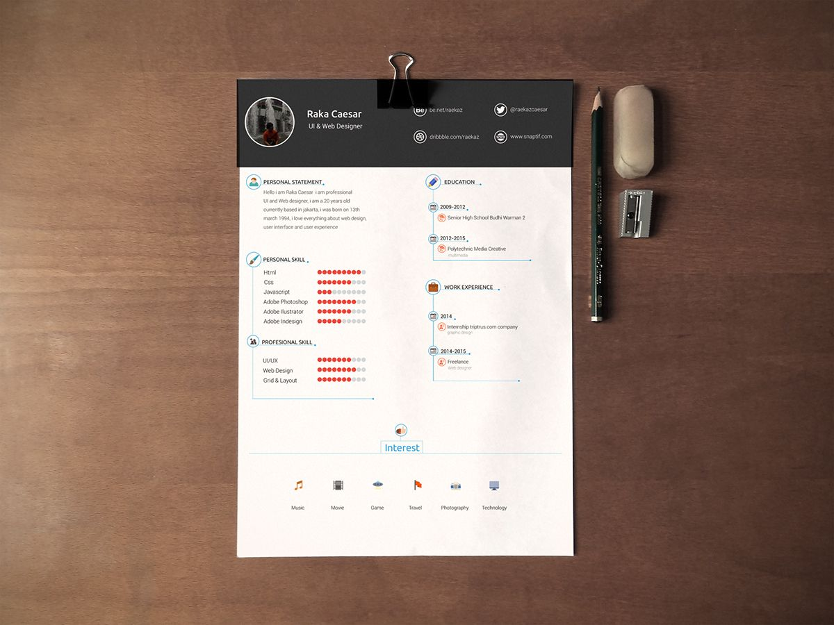 Resume  Cv Template  Free Download On Behance  More At