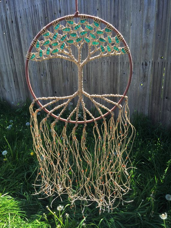 custom large macrame tree of life with hemp plant lover. Black Bedroom Furniture Sets. Home Design Ideas