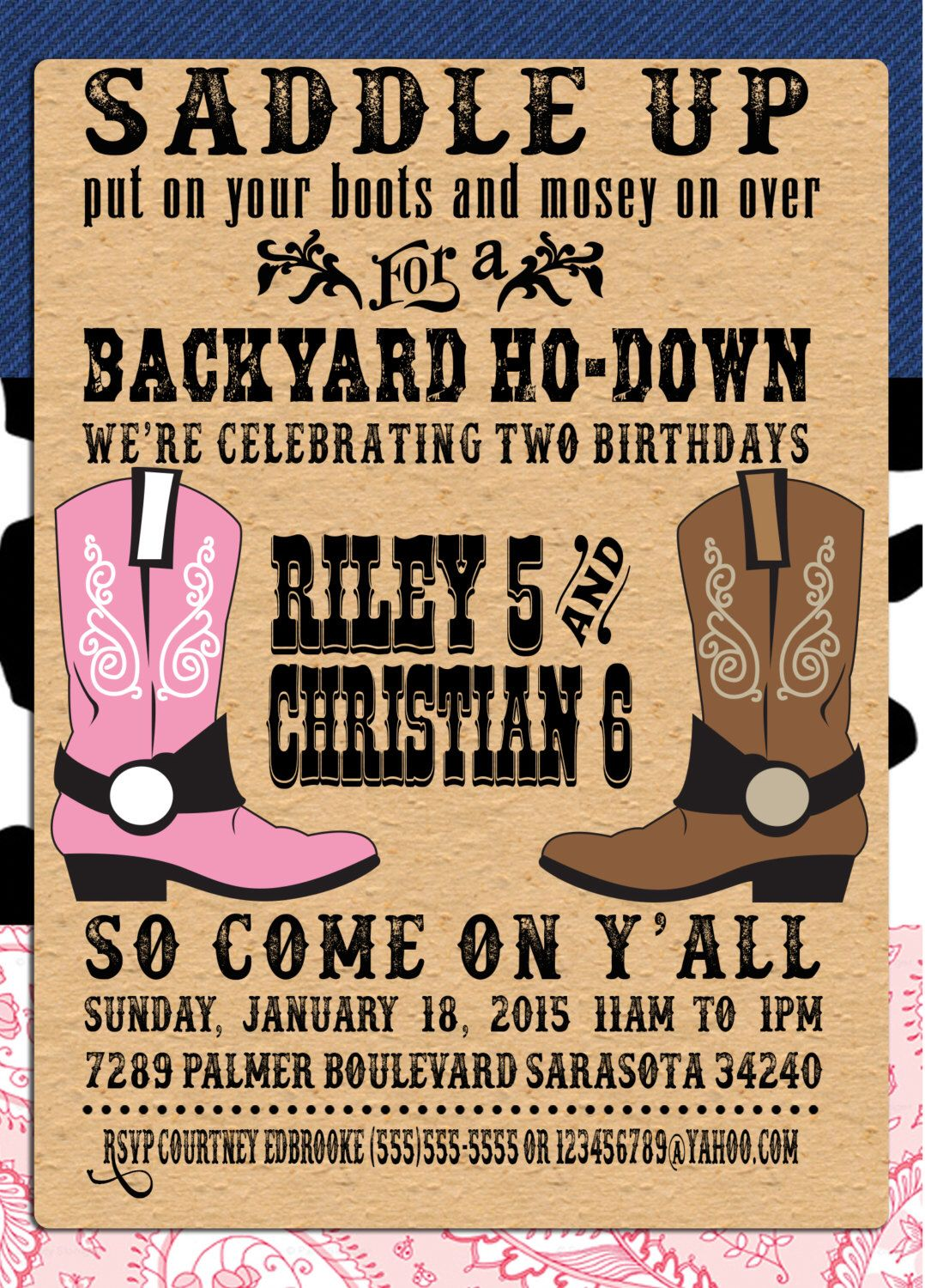 cowboy party invitations western theme