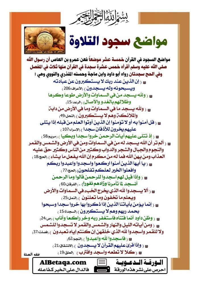 مواضع السجود في القرآن Islamic Information Tafsir Al Quran Quran Quotes