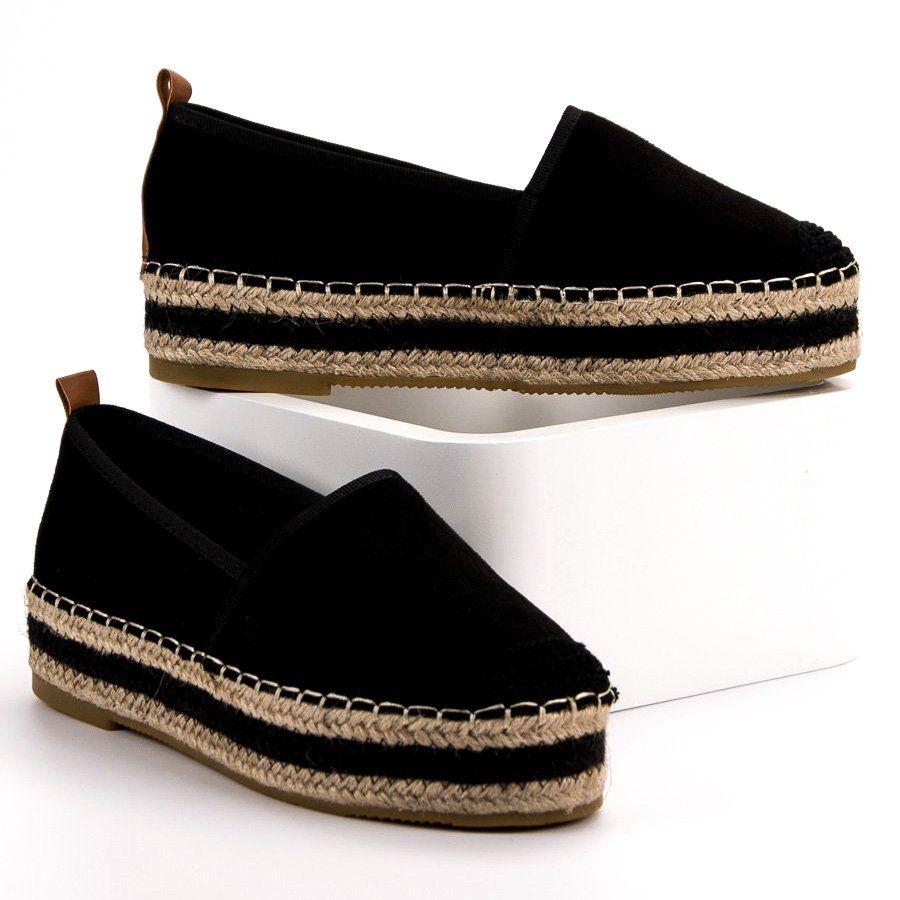 Coura Zamszowe Espadryle Na Platformie Czarne Flat Espadrille Espadrilles Shoes