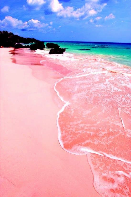 """Pink Sand Beach, Isla Harbour, Bahamas """" This gorgeous speck of land is known for its flower-lined streets, quaint cottages, and above all for the pinkish hue of its eastern beaches. Pink Sands beach, the most famous, is a three-mile-long strip that's wide and rarely crowded. """""""