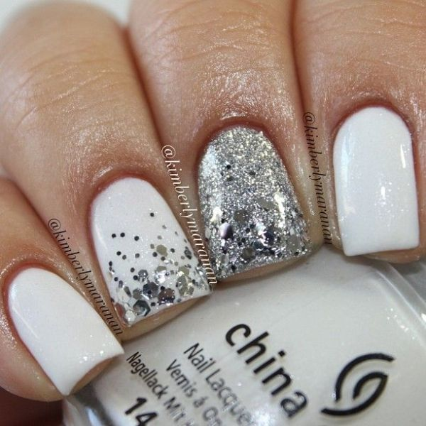 Winter White Nails Silver Nails Cute Nails White And Silver Nails