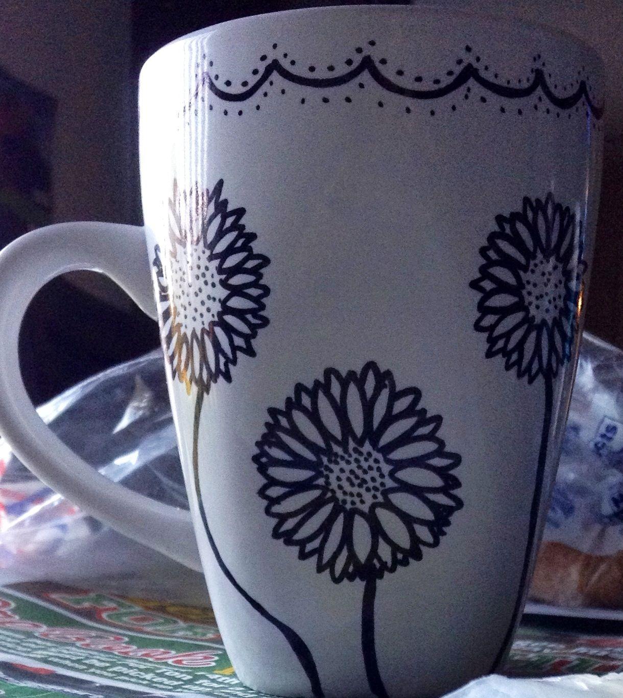Sharpie Mug Design With Flowers Diy Sharpie Mug Designs Diy Sharpie Mug Diy Mugs