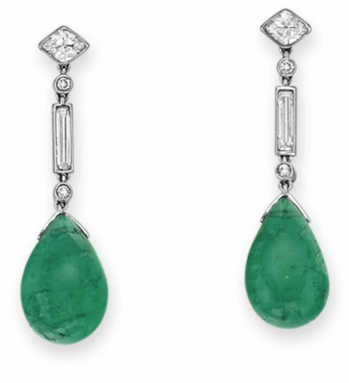 A PAIR OF ART DECO EMERALD AND DIAMOND EAR PENDANTS, BY CARTIER  Each suspending a drop-shaped emerald cabochon, to the collet and baguette-set diamond line, from a marquise-cut diamond surmount, mounted in platinum, circa 1925, with French assay mark (partially indistinct) and maker's marks Signed Cartier