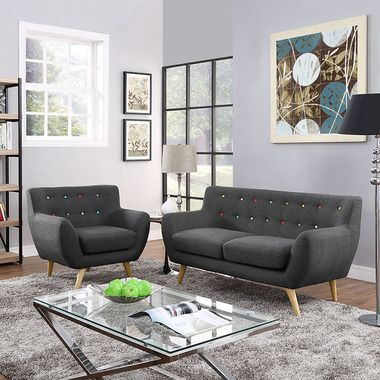 Fantastic Modway Remark 2 Piece Living Room Set In Gray Products Ibusinesslaw Wood Chair Design Ideas Ibusinesslaworg