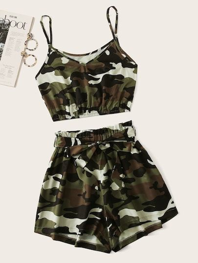 Camo Print Crop Cami Top With Shorts 2