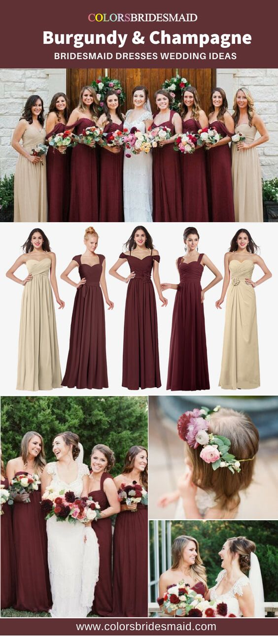 The Top 5 Burgundy And Champagne Bridesmaid Dresses We