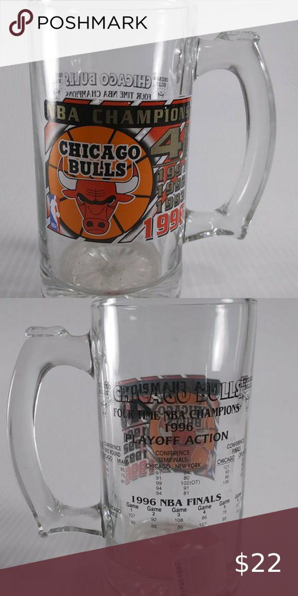 Chicago Bulls Commemorative Glass Mug 4 Time Champ in 2020