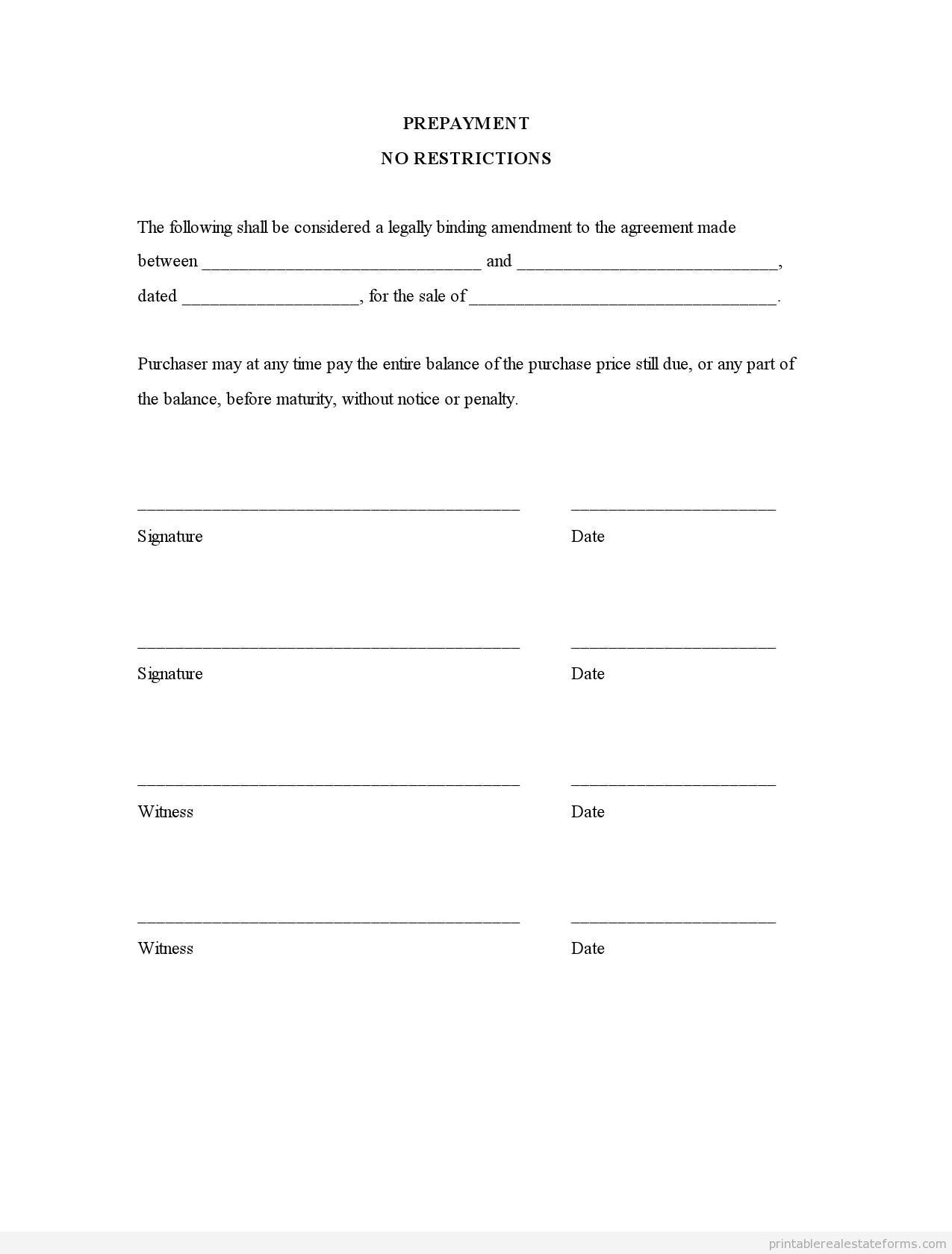 Sample Printable Prepayment No Restrictions Form  Printable Real