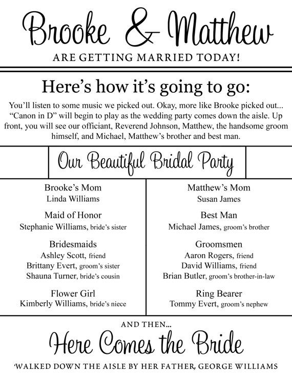 Cute wedding program with so many details! And it's double-sided! : ) Must have!