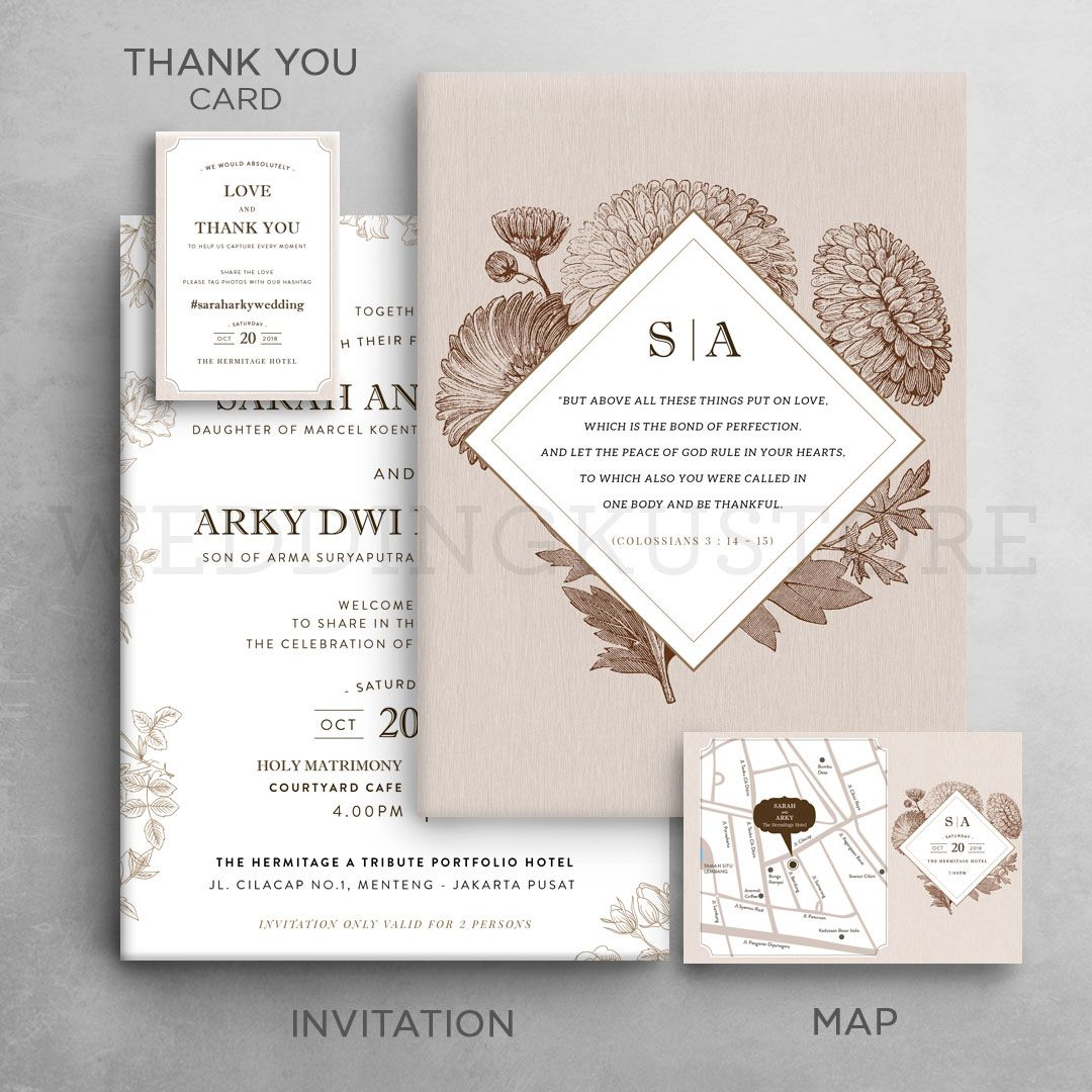 Vintage Botanical Wedding Invitation Design With Map And Thank You Card Undangan Pernikahan