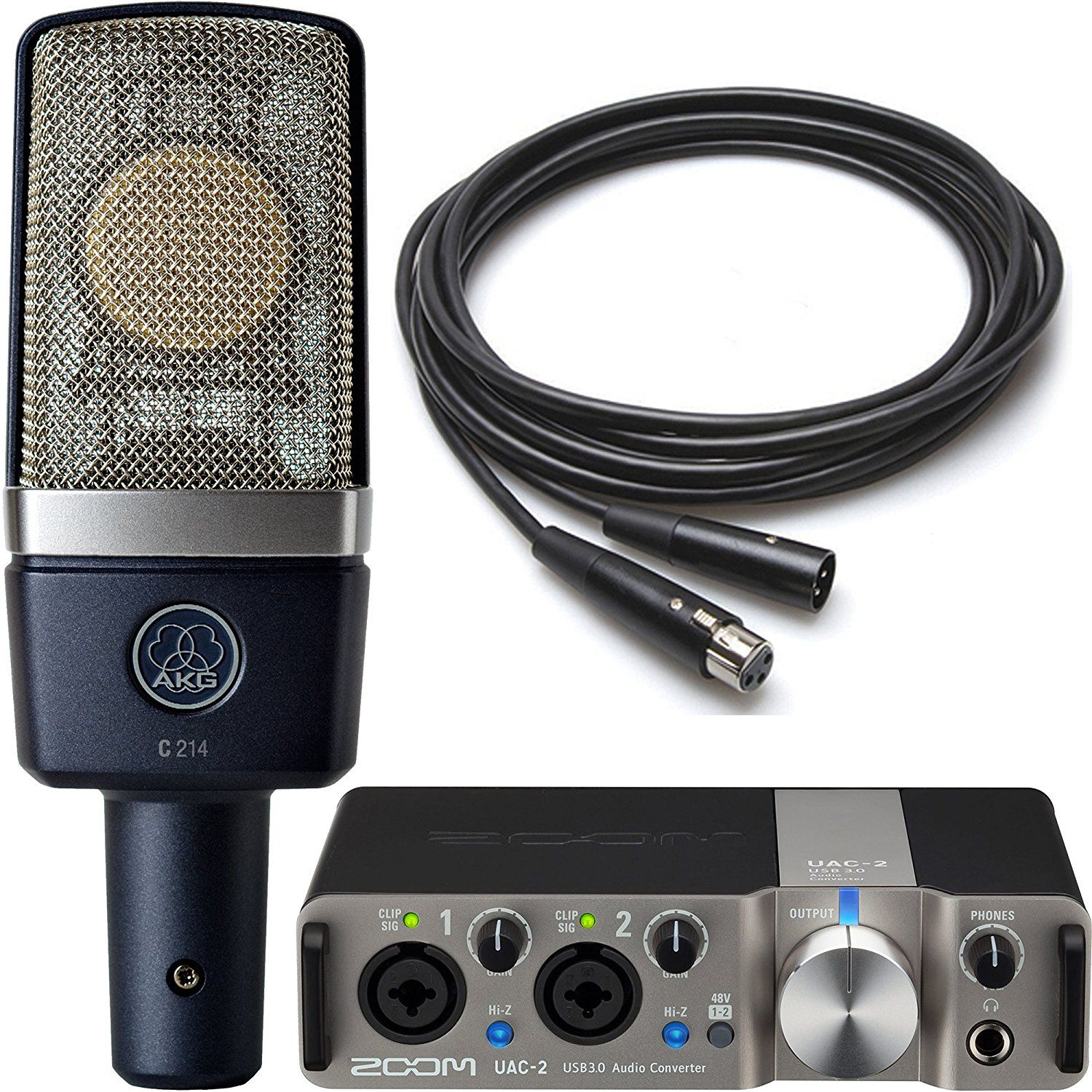 Akg Zoom Studio Recording Pack With Akg C214 Condenser Microphone And Zoom Uac 2 Usb 3 0 Audio Interface And 10 Microphone Cable Microphone Akg Audio