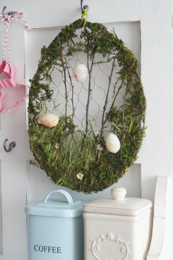Osterkranz basteln und den eingangsbereich geschmackvoll - Etagere weihnachtlich dekorieren ...