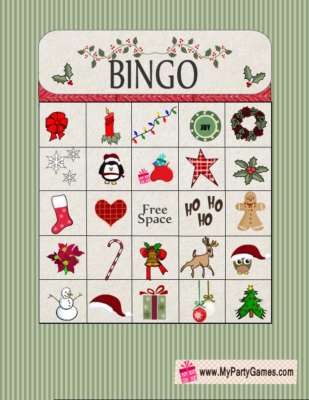 Free Printable Christmas Bingo Game Card 9 | Free Christmas ...