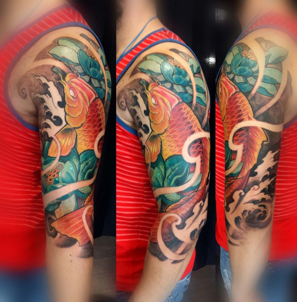 65 Japanese Koi Fish Tattoo Designs Meanings: Half Sleeve Colour Koi And Lotus Tattoo