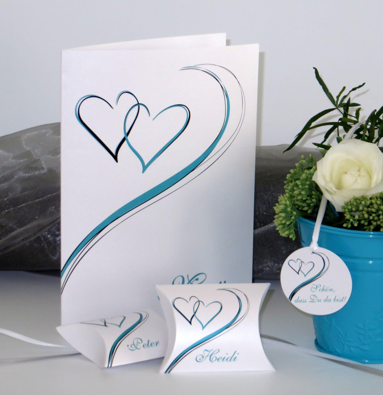 Tischdekoration In Turkis Menukarte Und Kleine Kartonagen Fur Gastgeschenke Mit Namensaufdruck Hochzeit Hoch Tischdekoration Dekoration Dekoration Hochzeit