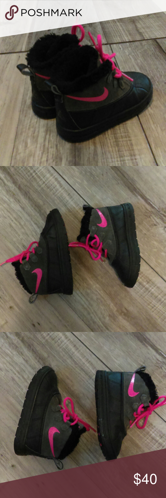 Nike Boots Used but in good condition girls pink , gray and black Nike boots wit...