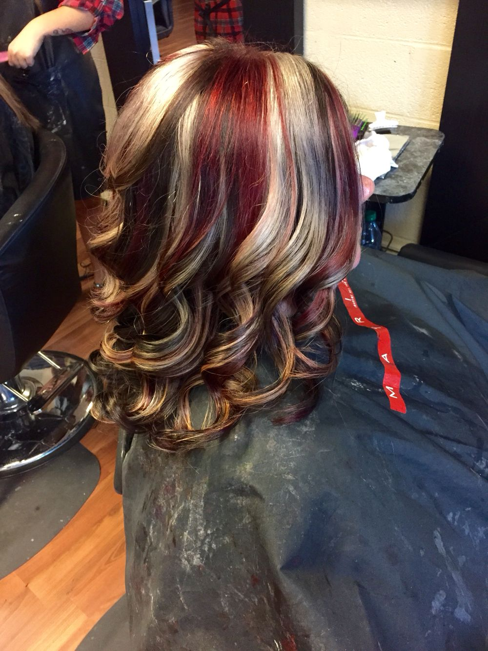 Brown Base With Blonde And Red Chunky Highlights Hair By