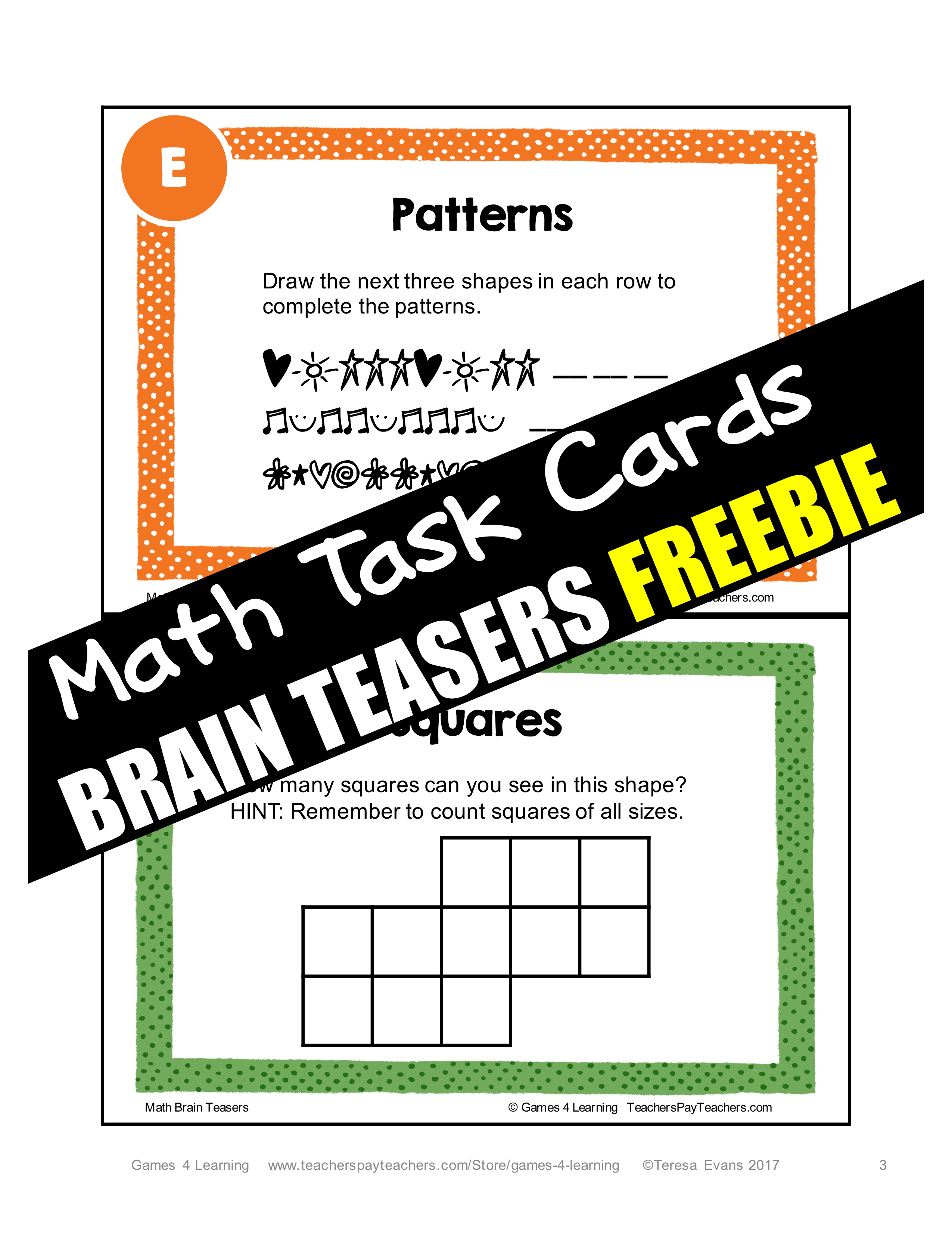 Freebie Printable Math Problems And Math Brain Teaser Task Cards From Games 4 Learning This Set Contains 7 Math Brain Tease Brain Teasers Math Task Cards Math [ 3300 x 2550 Pixel ]