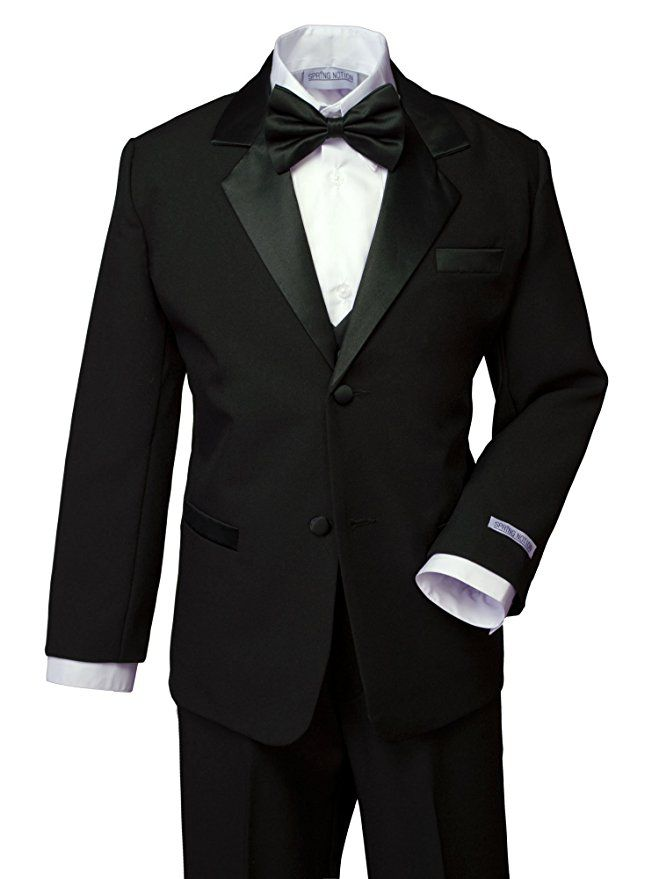 Gino Giovanni New Ring Bearer Boys Black Tuxedo Tail Set From Baby to Teen