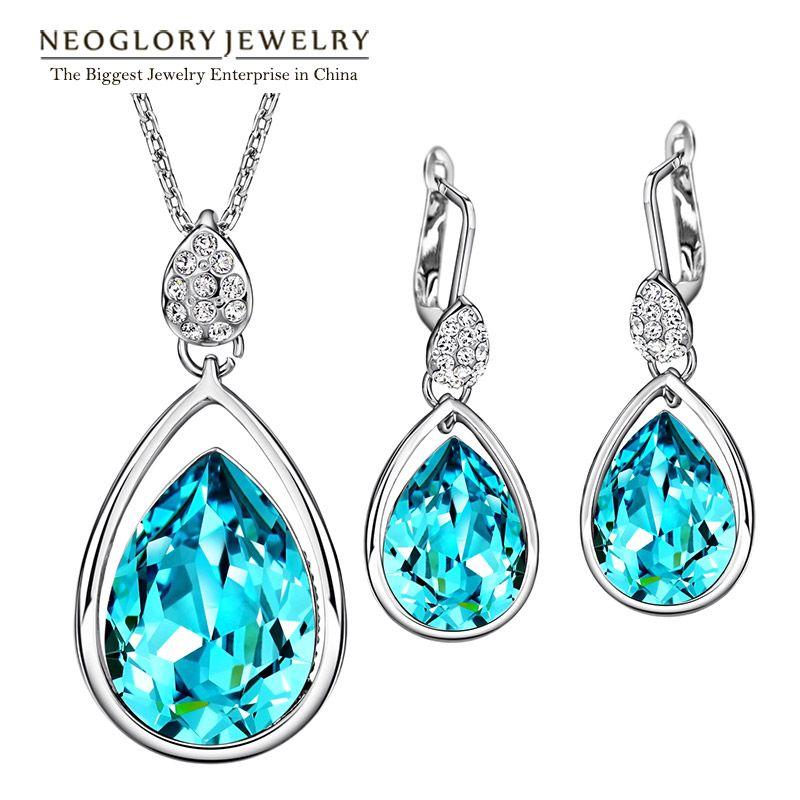 SWAROVSKI ELEMENTS Blue Earrings Crystals Rhinestones Teardrop Dangle In Gift Box Neoglory Jewellery jJUc5