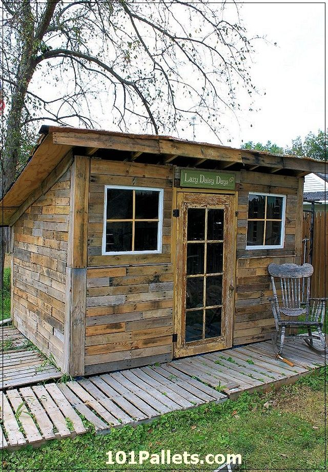 Beautiful DIY Shed using Pallets   want in the back yard for garden shed. Pallet Shed Using Pallets  Old Windows   Tin Cans   Pallets  Yards
