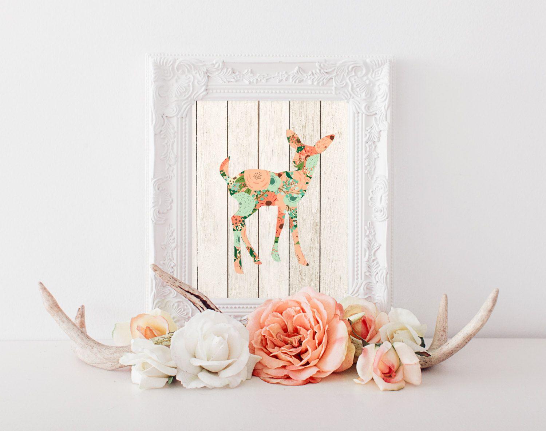 Shabby chic wall decor nursery - Fawn Print Printable Art Nursery Decor Woodland Animal Shabby Chic Deer