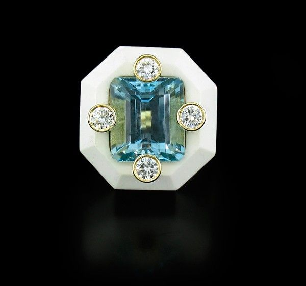 "Nicholas Varney Cacholong Aquamarine and Diamond ""Duo"" RingCayen Collection"