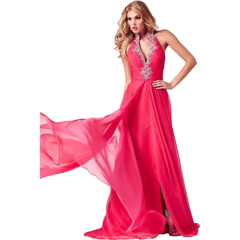 Cassandra stone by mac duggal pink chiffon embellished formal gown