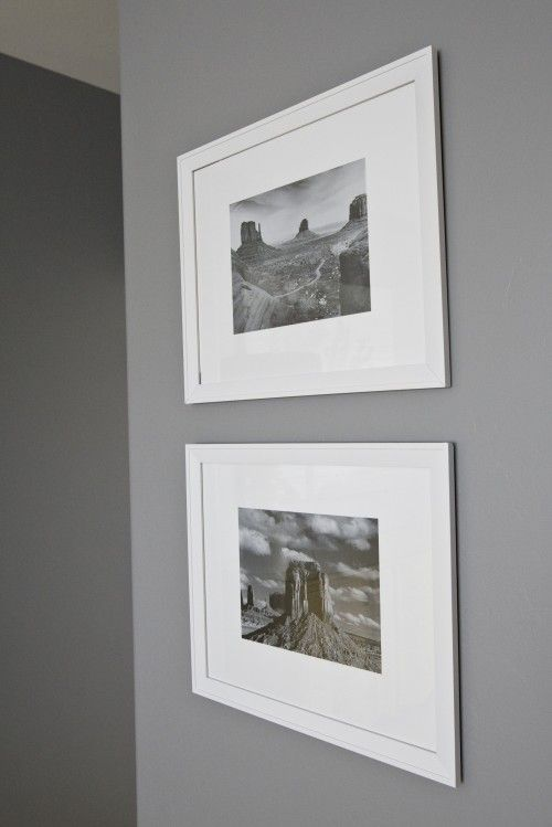 Gray scale pictures on white picture frames against grey - Gray clouds sherwin williams exterior ...