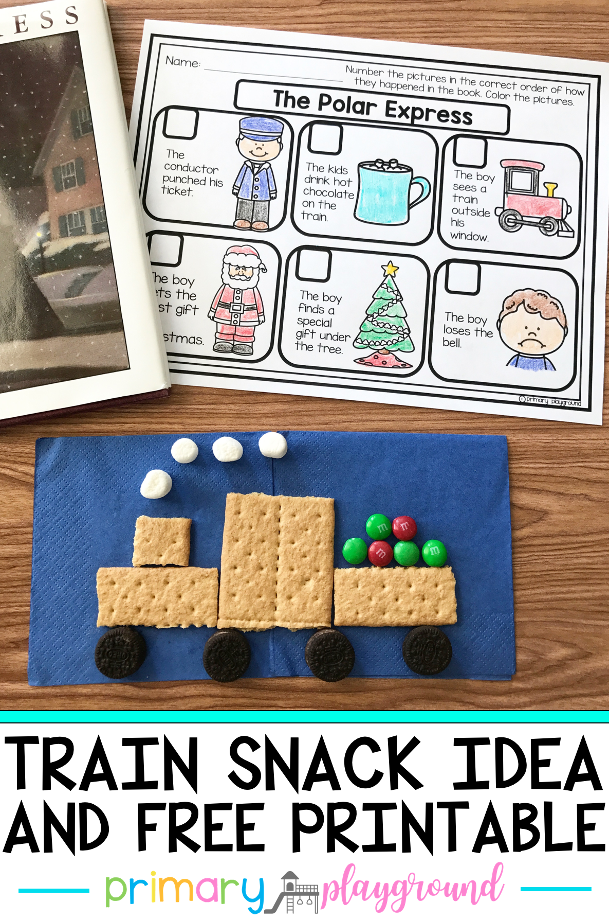 Literacy Snack Idea Train Free Printable