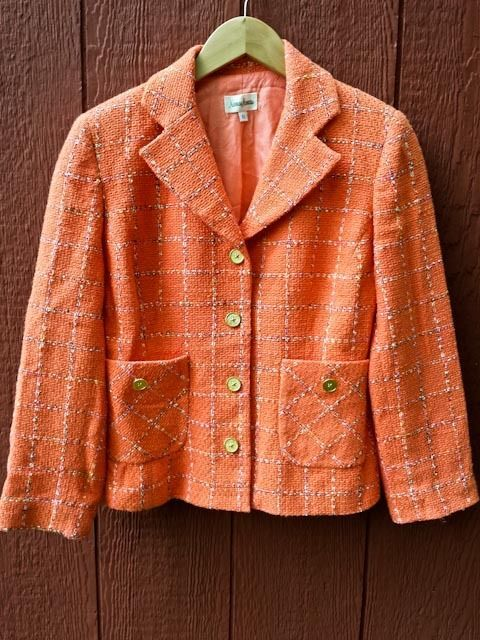 NEIMAN MARCUS Orange Cotton Blend Tweed Jacket Gold Buttons Sz 6 Vtg Made in USA #NeimanMarcus #Blazer
