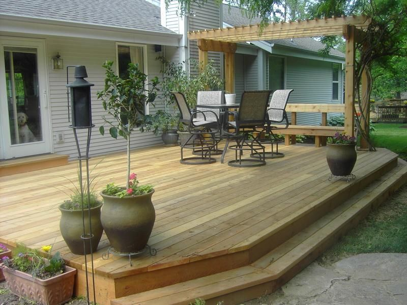 A Free Standing Cedar Deck And Pergola Patio Deck Designs Deck Designs Backyard Cozy Backyard