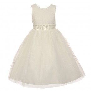 1e178b2402713 The Rain Kids Little Girls Ivory Sparkly Tulle Pearls Occasion Dress 2-6