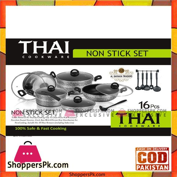 Buy Thai Kitchen Ware Non Stick Cooking Set 16 Pcs at Best Price in Pakistan #kitchenware
