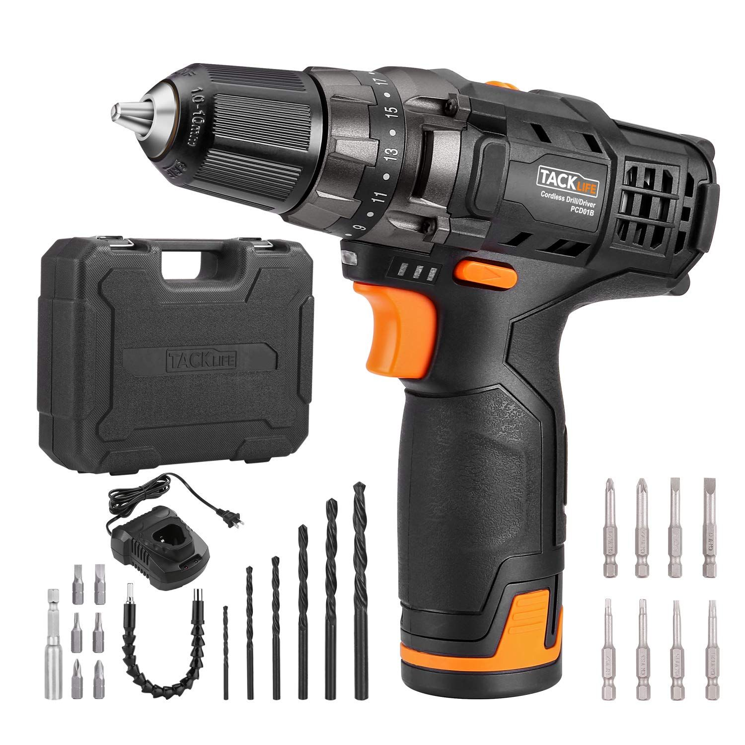 Tacklife 12v Cordless Drill Driver 3 8 Metal Chuck 2 Speeds Compact Drill Set With 13pcs Accessories 2000mah Lithium Ba In 2020 Drill Set Compact Drill Cordless Drill