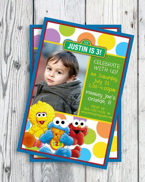Sesame street invitations Baby elmo and Sesame streets – Sesame Street Party Invitations Personalized