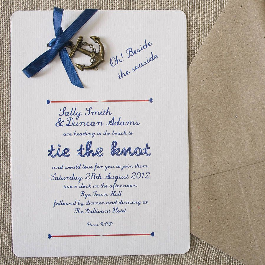 Nautical Diy Wedding Invitation Pack By In A Teacup Notonthehighstreet: 1950s Formal Wedding Invitation Wording At Reisefeber.org
