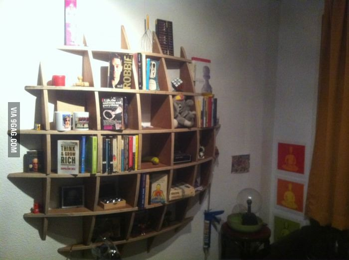knick knack shelf made of a single piece of plywood creative idea
