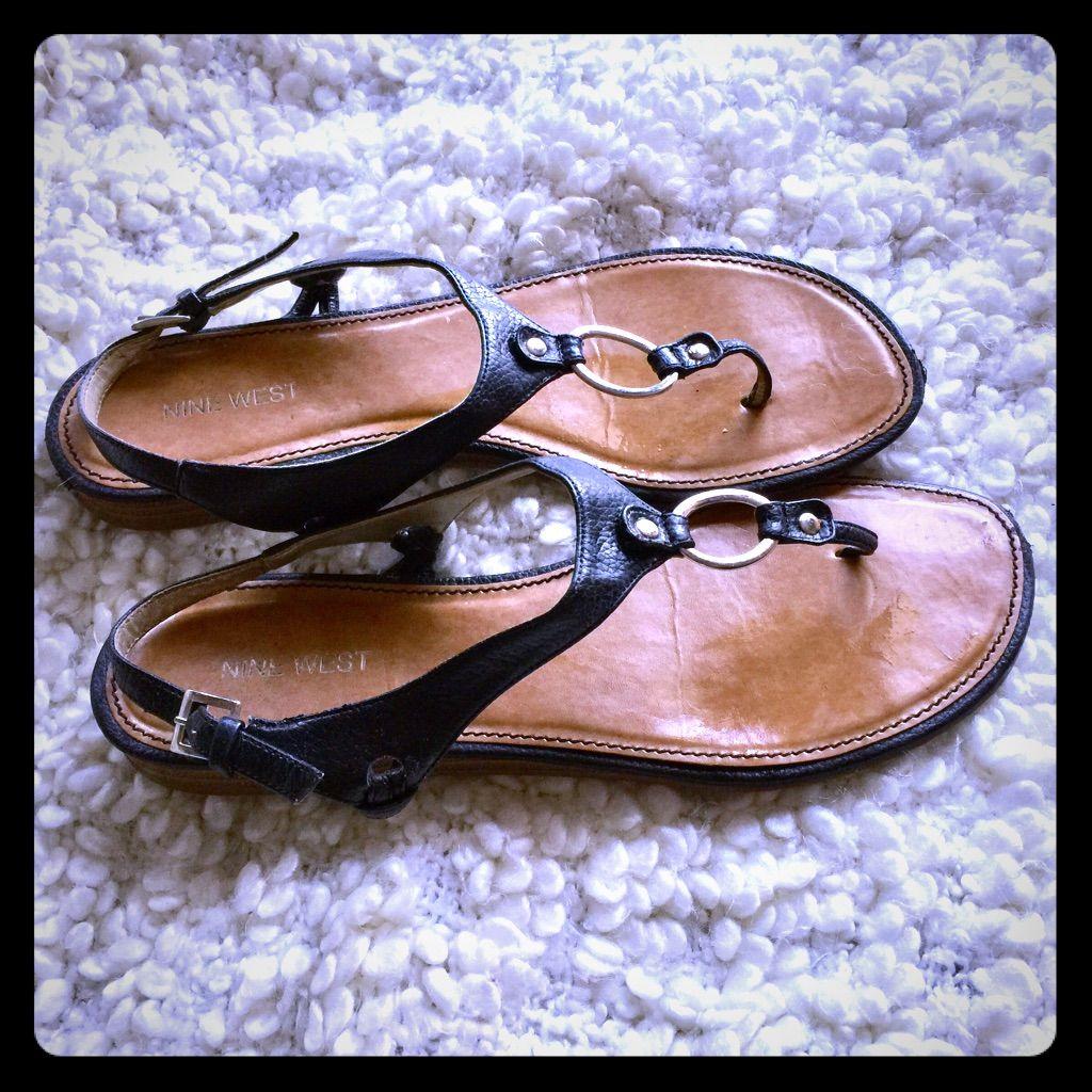 Nine West Black Leather Sandals Size 8 (Big)