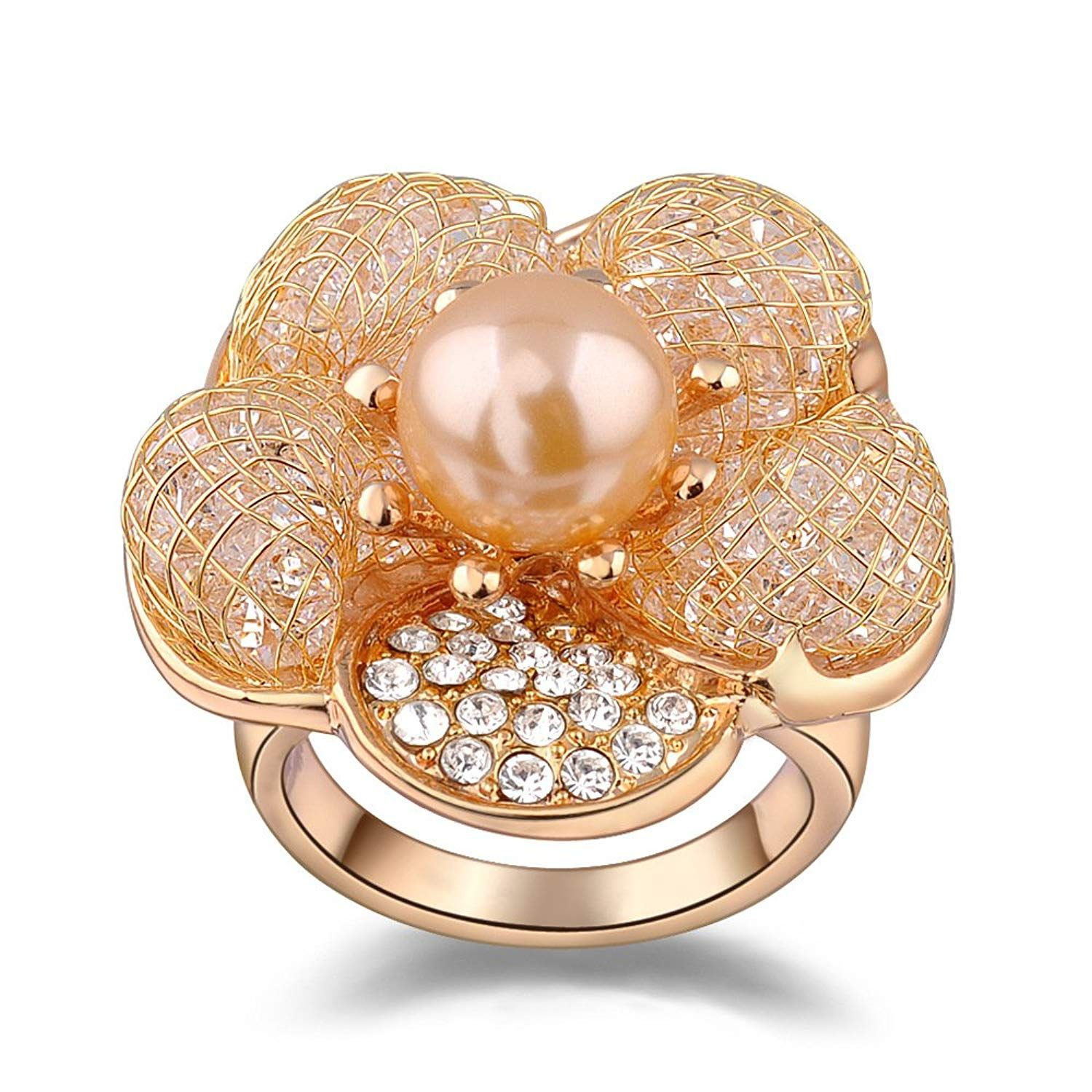 Mytys Fashion Rose Gold Mesh Crystal CZ Cubic-Zirconia Chunky Statement Rings Valentines Day Jewelry for Women