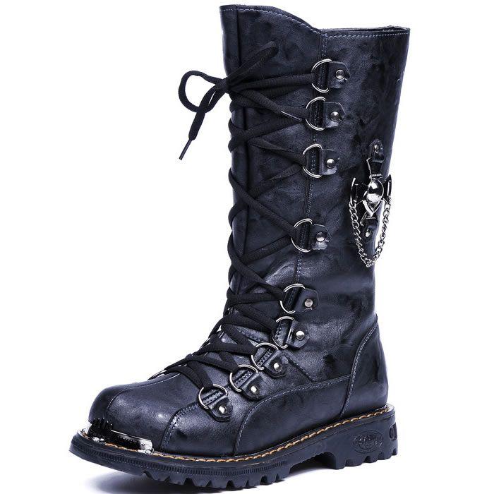 1c7550a25 Black Leather Knee High Gothic Punk Biker Military Combat Boots Men SKU -1280369