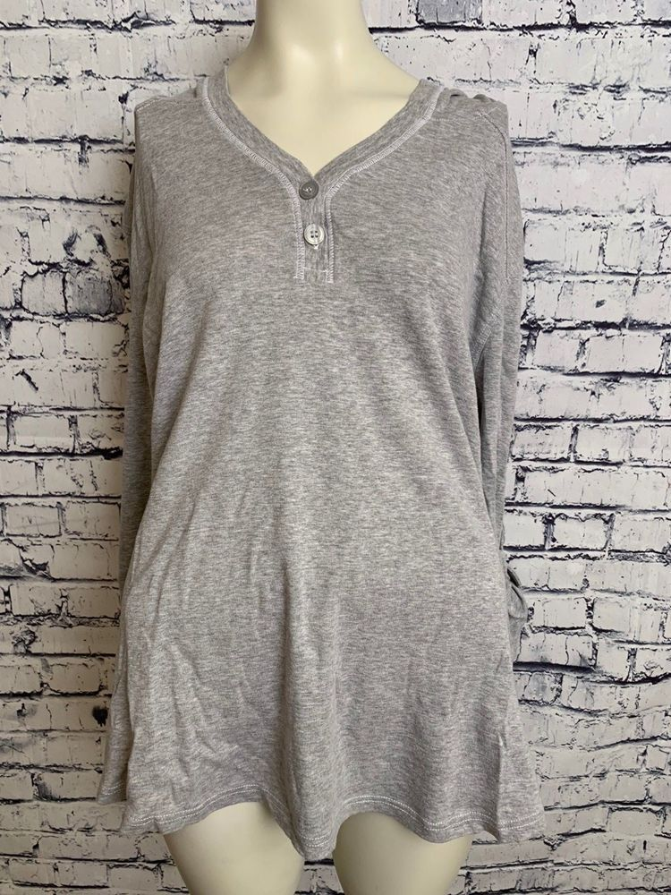76733c599b6 JMS Just My Size Women Plus Size 4X 26W 28W Gray Hooded 3 4 Sleeve Shirt  Top  JustMySize  Top  Casual