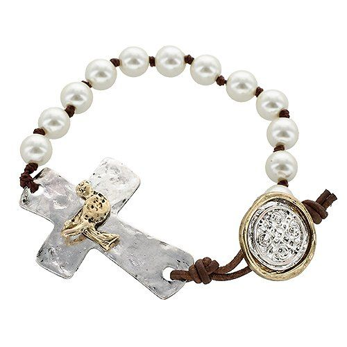"""Religious Bracelet, Hand-knotted Ivory Pearl Bracelet with Dove Charm, •Features: * Antique Gold/ Antique Silver Plating * Hand-knotted Ivory Pearls * 2-tone Bird Embellished Cross * Approx. Length: 7.5"""" * San Benito Button-loop Closure •Trendy Hand-knotted Ivory Pearl Bracelet with 2-tone Bird Embellished Cross and San Benito Artisan Button-loop Closure. JE001 http://www.amazon.com/dp/B00GHY388E/ref=cm_sw_r_pi_dp_MJBTtb19BFZH1SBM"""