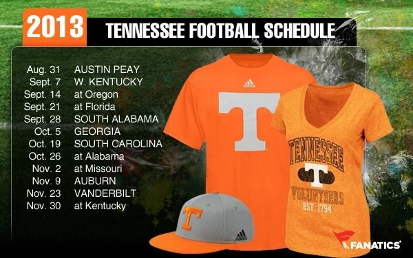 2013 schedule Go Vols (With images) | Tennessee football ...