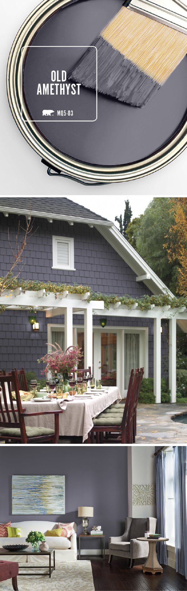 Bring the exterior of your home into the 21st century with BEHR's Color of the Month: Old Amethyst. This modern paint color shines when paired with bright white trim and a natural stone pathway. Use the deep blue and purple undertones in this dark gray hue to enhance the view of your outdoor landscaping.