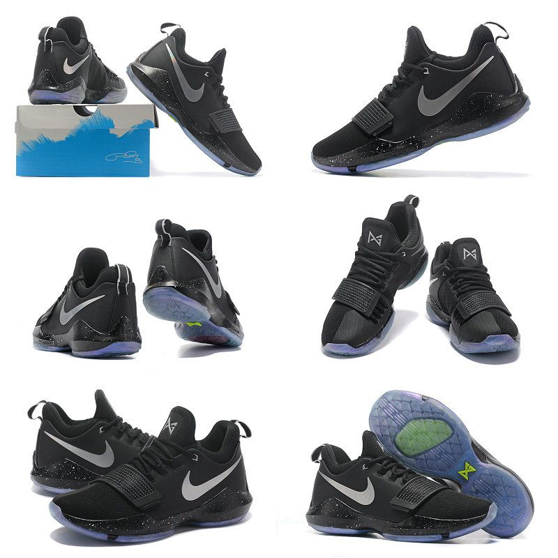 info for ba333 19ed8 2018 Fashion Nike PG 1 Shining Black Silver Multi Color Paul George Shoes