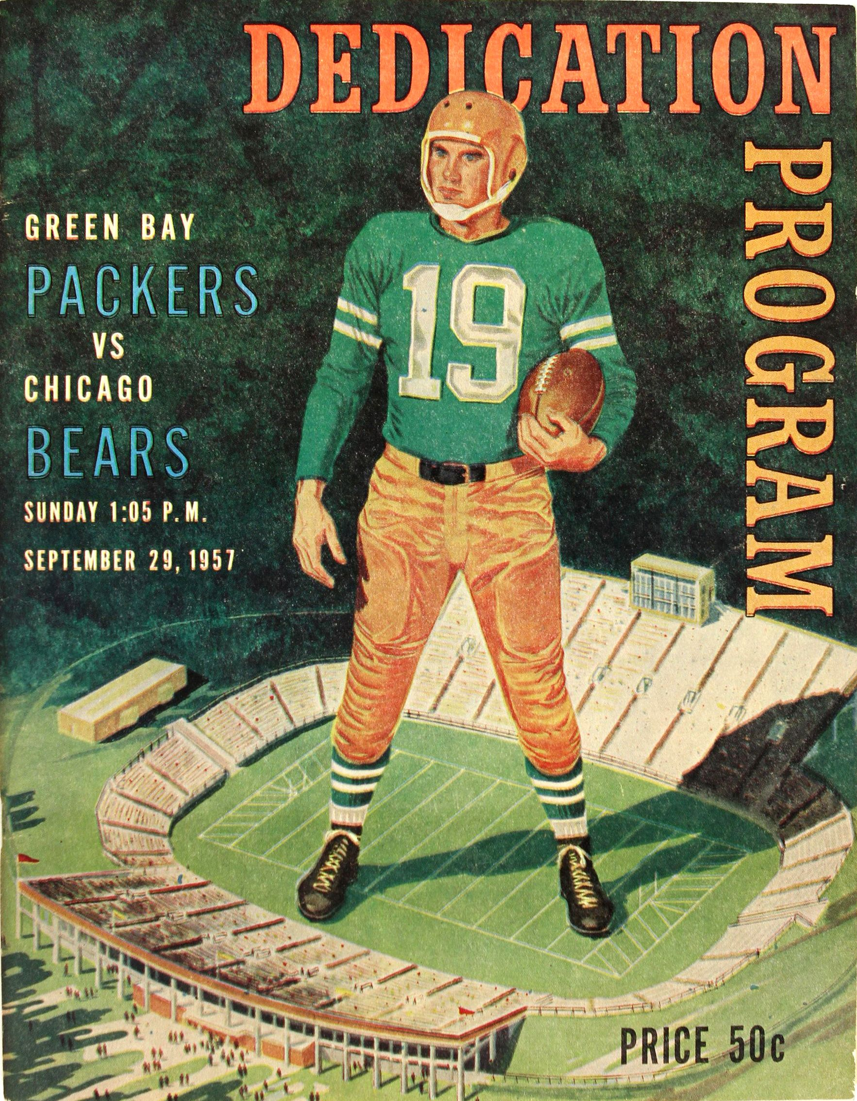 Packers Vs Bears 1957 Dedication Program Green Bay Packers Vs Chicago Bears Packers Green Bay
