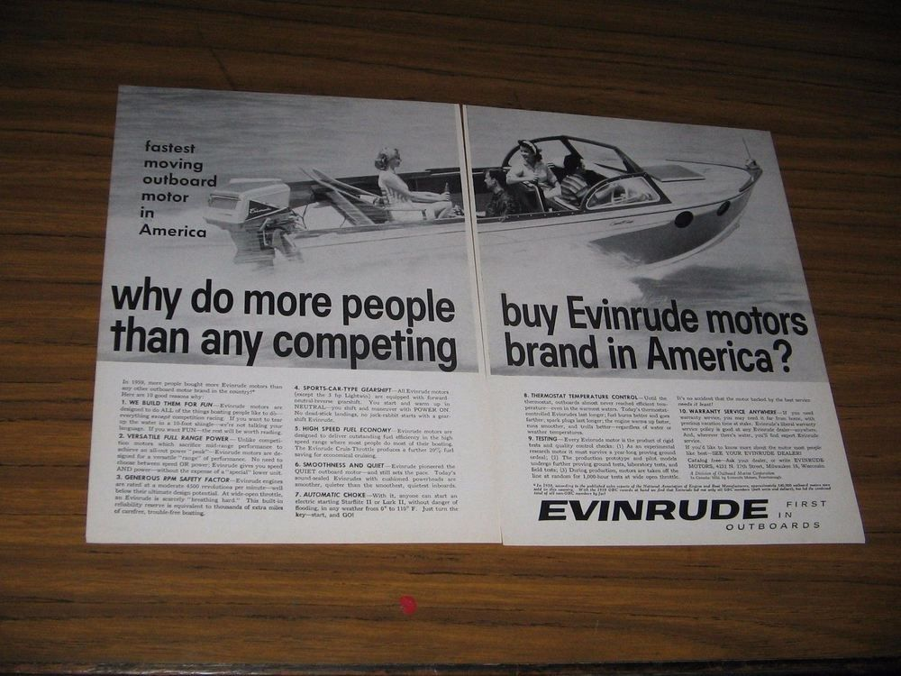 1960 Print Ad Evinrude Outboard Motors Milwaukee,WI | Collectibles